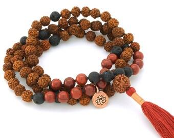 Rudraksha, Lava & Red Jasper Mala with copper lotus charm, 108 bead mala, hand-made