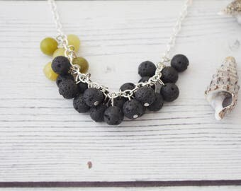 Bubbles - lava stone and jade necklace, lava necklace, black stone necklace, gemstone necklace, essential oil diffuser, crystal statement
