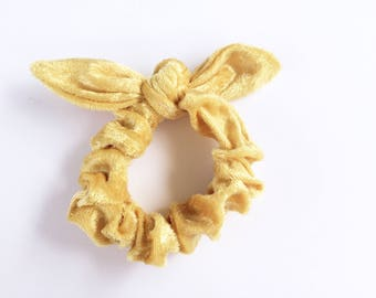 Lucy and Mabs Pinup Bow Scrunchie/ Hair Tie/ Gold Crushed Velvet