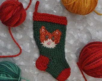 Orange Tabby Cat Hand-Knit Christmas Stocking Ornament