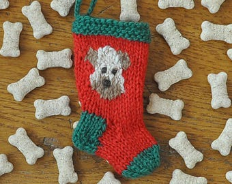 Wheaten Terrier Dog Hand-Knit Christmas Stocking Ornament