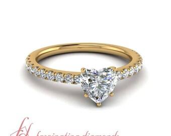 0.80 Ct. Heart Shaped Diamond U Prong Petite Engagement Ring In 14K Yellow Gold GIA Certified