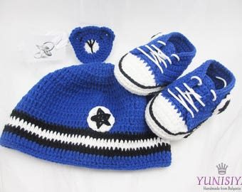 Crochet Baby set Crochet Baby hat Blue baby set Baby Set Converse Sports baby set Sports baby gift Sports set Newborn set  Baby outfits