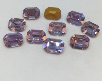 Vintage Glass Alexandrite Light Purple colour Foiled rhinestone Octagonal 6mm x 8mm - 4g approx 10 pieces