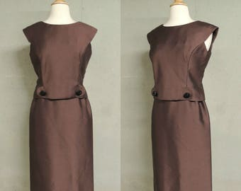 Vintage 50s Dress /  Chocolate Brown Shantung Black Glass Buttons 2pc Top Skirt Set Mad Men Wiggle