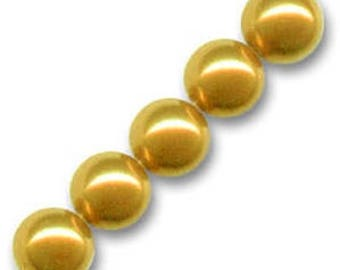 10 x 14 mm mustard Pearly round glass beads
