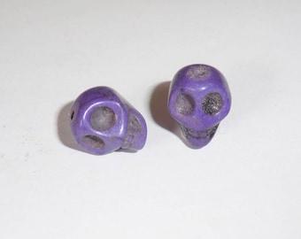 2 x 12mm purple Howlite Skull skull