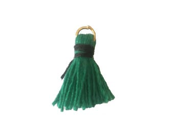 Mini-Pompon 15-20mm bicolor green/black cotton