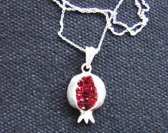 Pendant Pomegranate Sterling Silver 925 with Red Zircon, Silver necklace as a gift - Armenian Handmade Jewelry, Gift for Her