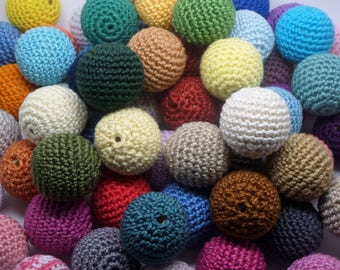 100 beads 27mm multicolored crocheted