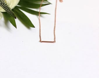 Mini necklace pink gold plated tube