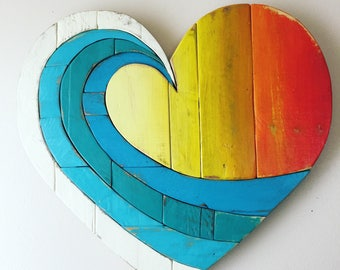 Wave Rainbow (light colors) Pallet Wood Heart wood art ,wall hanging , beach art, reclaimed wood, pallet wood, multicolor, summer decor