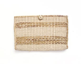 Handwoven Minimalist Clutch // Jute Sisal Natural Fibers Clutch Purse // Vintage Accessory