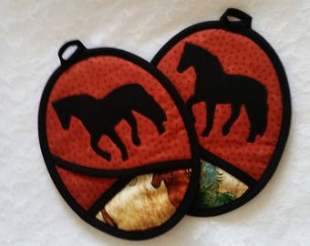 Horse Silhouette Pot Holders, Oven Mitts, Hot Pads, Ranch Kitchen, Pocket Potholders,Horse Lover