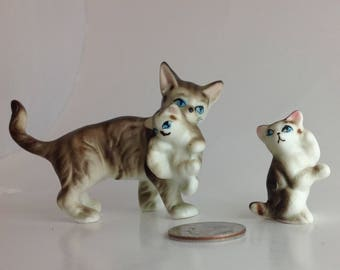 Vintage Miniature Tabby Tiger Cat Figurines Mother and Kittens Set Tabby Cat Art Tiger Cat Lover Gift Idea Tiny Cat Figurines