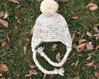 Earflap Hat With Pom Pom, Baby Ear Flap Hat, Solid Ear Flap Earflap Hat, Kids Winter Hat, Pom Hat - ANY COLOR Crochet Baby Hat with Ear Flap