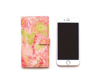 Handmade Pastel Pink Leather iPhone 6/6S flip case & card holder