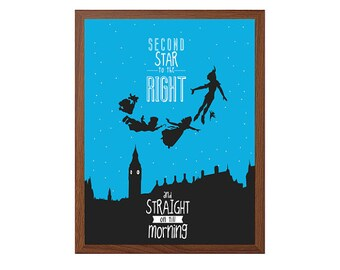 PETER PAN | Second Star To The Right Poster : Walt Disney Modern Illustration Retro Art Wall Decor Print