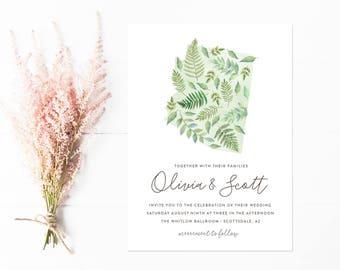 Arizona Wedding Invitations, Watercolor Ferns and Botanicals