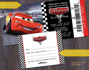 """Cars Pit Pass Birthday Invitation """"Tickets"""" and/or Fill-in-the-Blank Thank You Notes with Envelopes"""