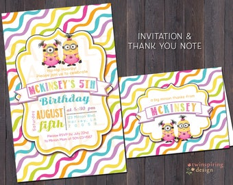 Minion Girl Birthday Invitations and/or Thank You Notes with Envelopes