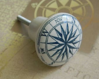 Compass Rose Glazed Porcelain Knob or Map Legend Drawer Pull. Vintage Nautical Style Cabinet Knob or Drawer Knob for Bureau. Ltd Quantity.
