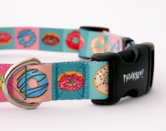 """Dog Collar Delicious Donut  2.5 cm 1""""  wide, Pet accessories Psiakrew Colorful Pet collars for medium and large dogs"""