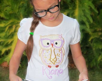 Scholar Owl Embroidered Shirt - Back to School Shirt - Girls Embroidered Shirt- Boys Embroidered Shirt - Personalized Shirt - Applique Owl