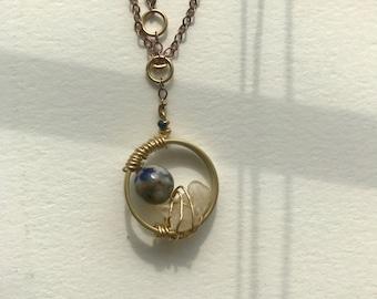 Unique Wire Wrapped Pendant Necklace