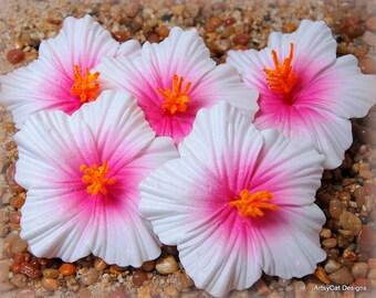 Hibiscus Hair Clip, White with Magenta center, Hibiscus hair flower, tropical flower, Hawaii, Hula, Moana, Beach Wedding, FREE Mini Plumeria