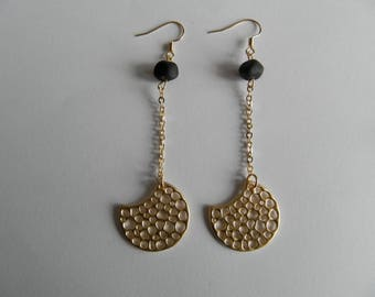 Lampwork bead unpolished and perforated Crescent earrings gold black