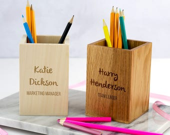 Pen Holder - Personalised Wooden Pen Pot - Corporate Pen Pot - New Job Gift - Pencil Pot - Pencil Holder - Gift For Colleague - LC251