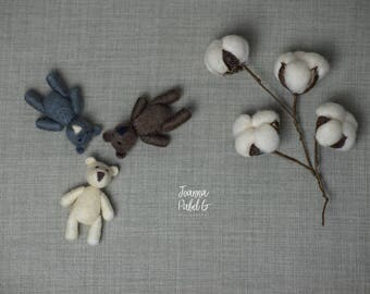 Tiny Teddy Bear Photography Prop / Needle Felted / brown, grey or ecry
