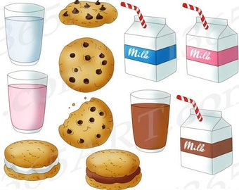50% OFF Milk and Cookies Clipart, Milk and Cookies Clip Art, Chocolate Chip, Milk Cartons, Glass Of Milk, Commercial, Instant Download