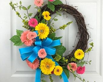 Spring Wreath for Front Door, Daisy Wreath, Everyday Wreath, Welcome Wreath, Grapevine Wreath, Spring Wreath, Porch Decor, Outdoor Wreath