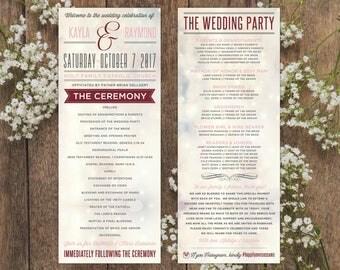 Wedding Programs | Blush & Grey Wedding Program Design | Wedding Ceremony | Bridal Party | Custom Programs for Wedding
