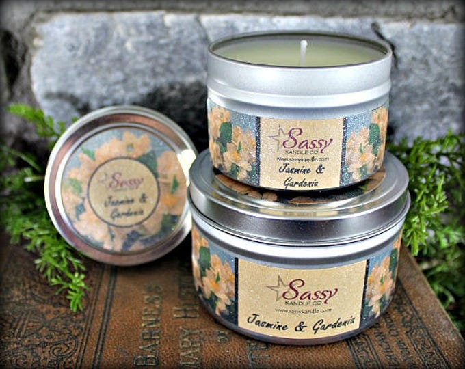 JASMINE & GARDENIA | Candle Tin (4 or 8 oz) | Sassy Kandle Co.