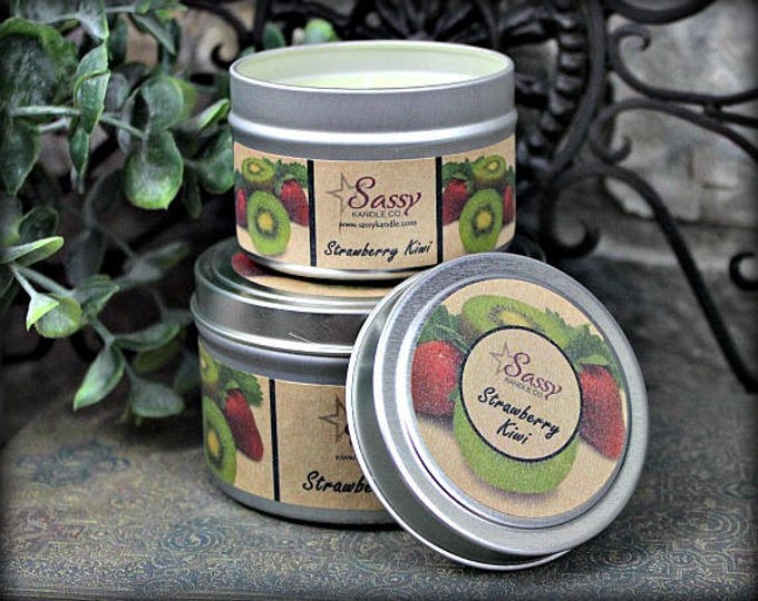 STRAWBERRY KIWI | Candle Tin (4 or 8 oz) | Sassy Kandle Co.