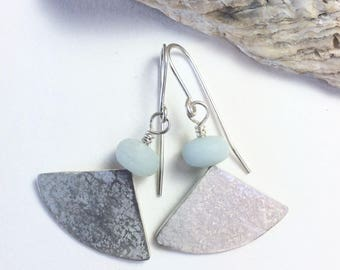 Pale Amazonite and Silver Segment Earrings