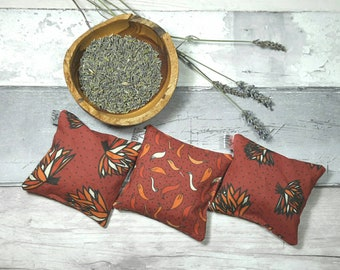 Lavender bag, sachet, pure dried lavender, Yorkshire lavender, red, scented pouch, flowers, natural moth repellent, one bag