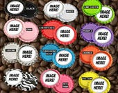 200 Custom Bottle Caps with HOLE at the top - Great for chain charms or key chain art Custom Personalized