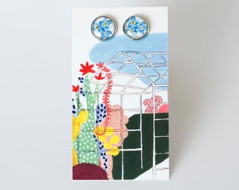 Earrings with a forget-me-not, handmade with glass cabochons, illustration, flower, rose gold, metal 3.