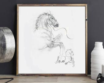 Rearing Horse Sketch Print | Graphite | Black and White | Contemporary Art | Square Art | Modern | Minimalism | Wall Art | Wall Decor