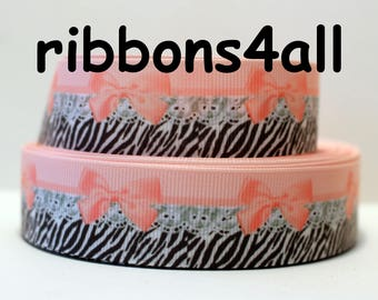 """1"""" Grosgrain Ribbon by the Yard, Animal Print Ribbon Lace Ribbon for Crafts, Decor, Hairbows, or Gifts"""