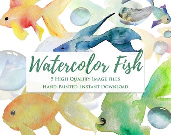 Watercolor Fish & Bubbles Clip Art Set: Hand painted images. Instant download for printable wall art, sticker making, cards or invitation de