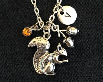 Squirrel Initial Necklace Squirrel Initial Jewelry