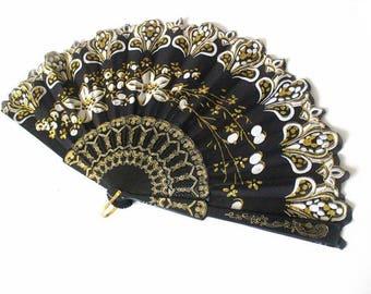 Hand Fans, hand fan, abanico, black,white,gold, romantic