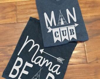 Momma bear and man cub, mom and son shirt set, boymom, momma bear