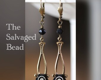 Antique Art Deco Gatsby Flapper Black Glass Earrings, circa 1920's by The Salvaged Bead