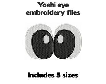 Machine embroidery design file - Yoshi dinosaur eyes - 5 sizes cartoon googly monster face cute for plush stuffed animal plushie
